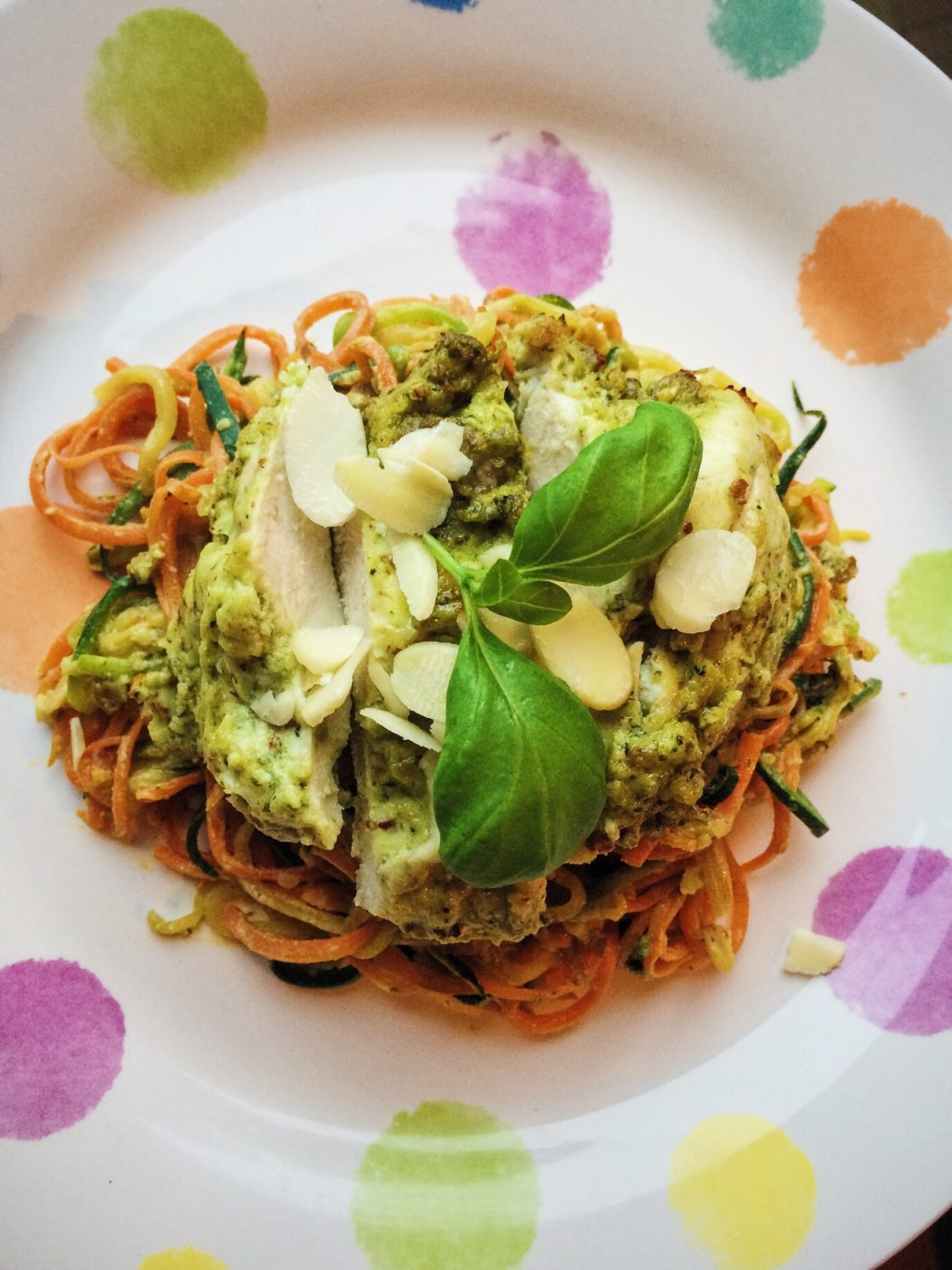 Pesto Chicken Vegetable Spaghetti; Delalicious