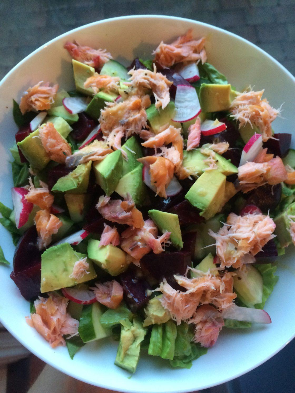 Hot Smoked Salmon & Avocado Salad; Delalicious