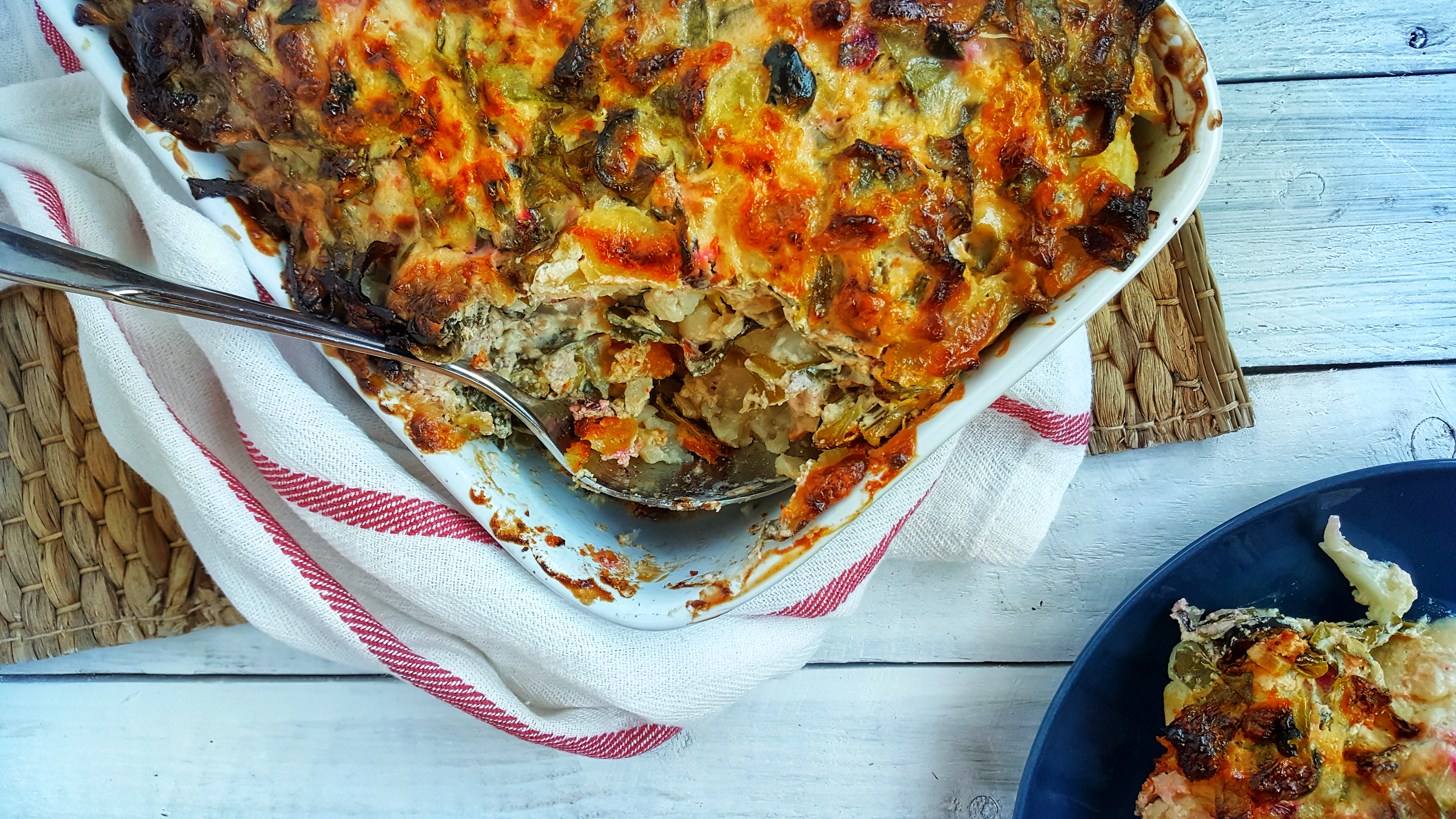 Cheesy Baked Spinach & Cauliflower; Delalicious
