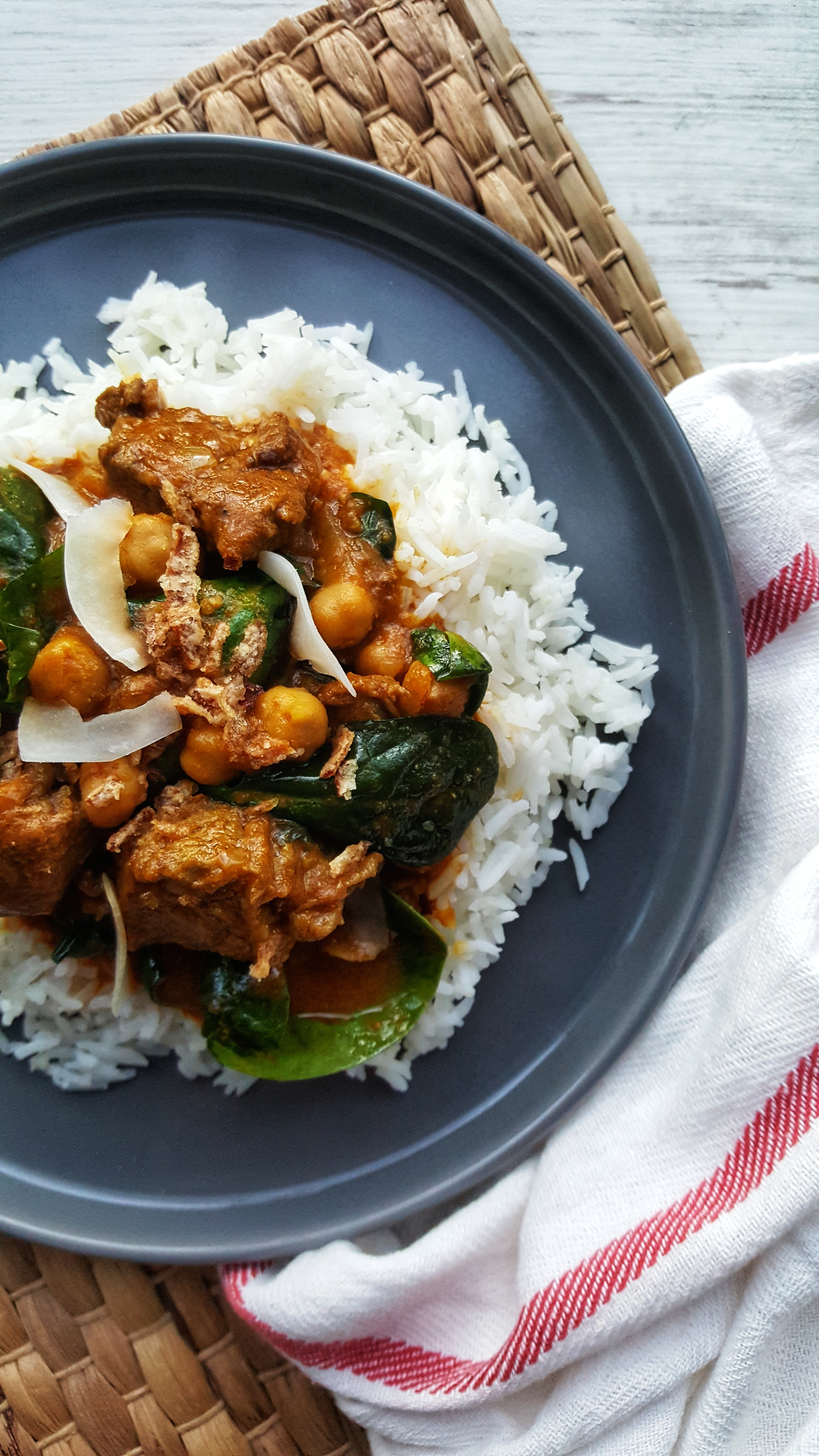 Beef, Spinach & Chickpea Curry; Delalicious