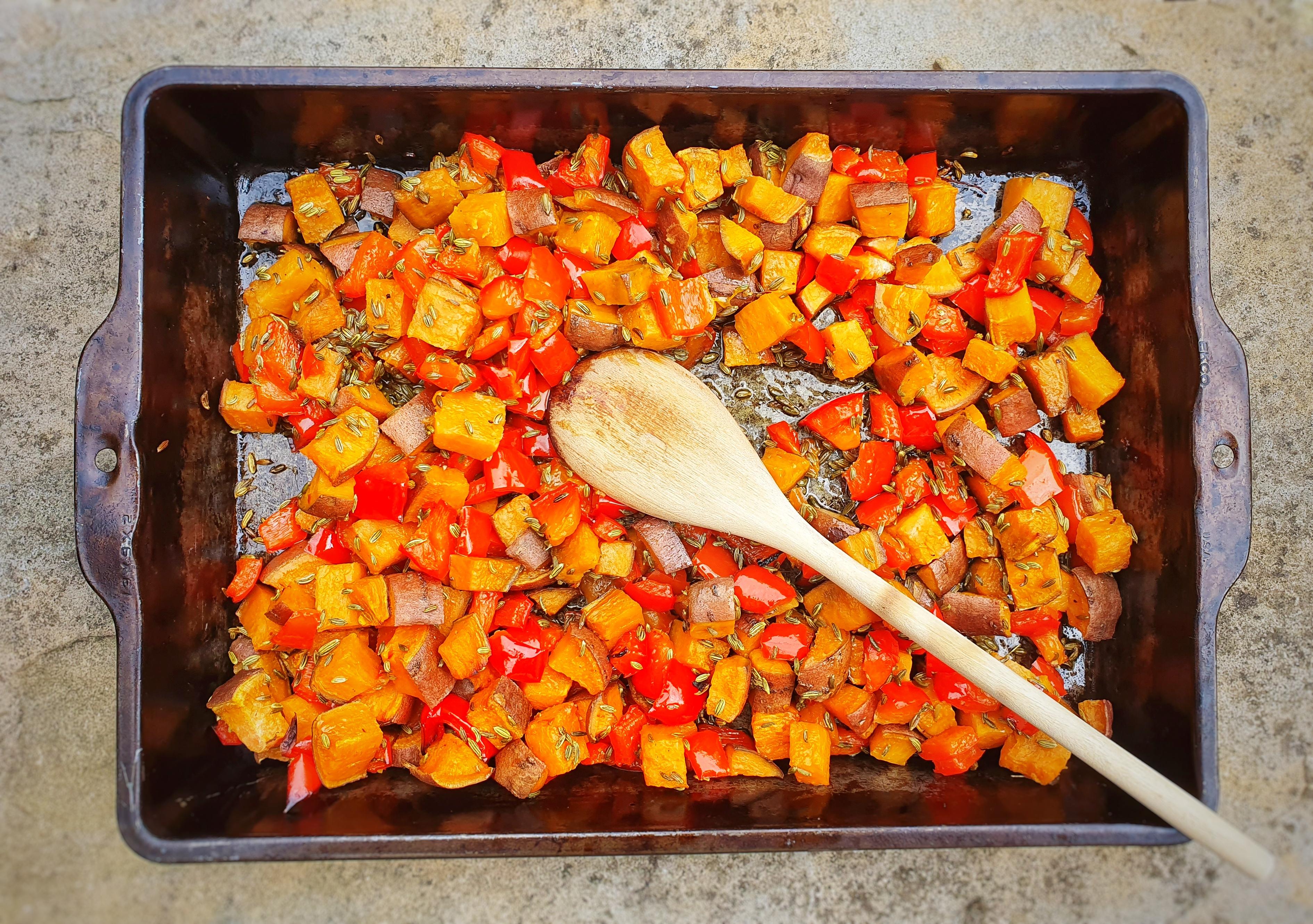 Roast Sweet Potato & Red Pepper Fennel Cubes; Sinead Delahunty; Delalicious