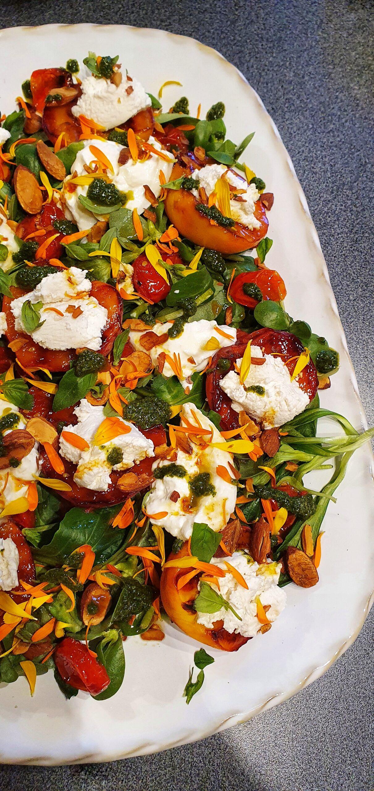Roast Peach & Ricotta Summer Salad; Delalicious; Sinead Delahunty